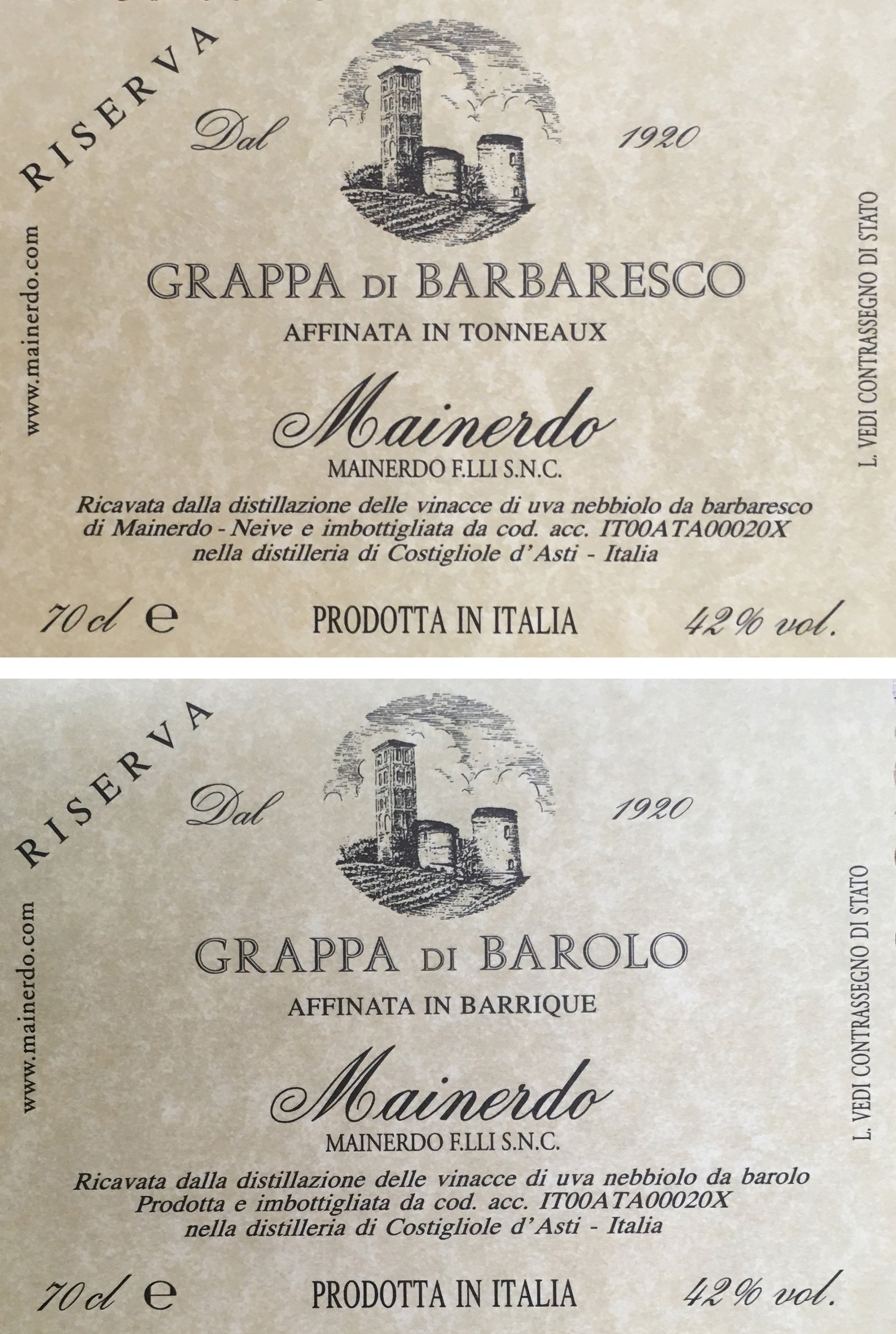 Aged Grappa di Barbaresco/Barolo