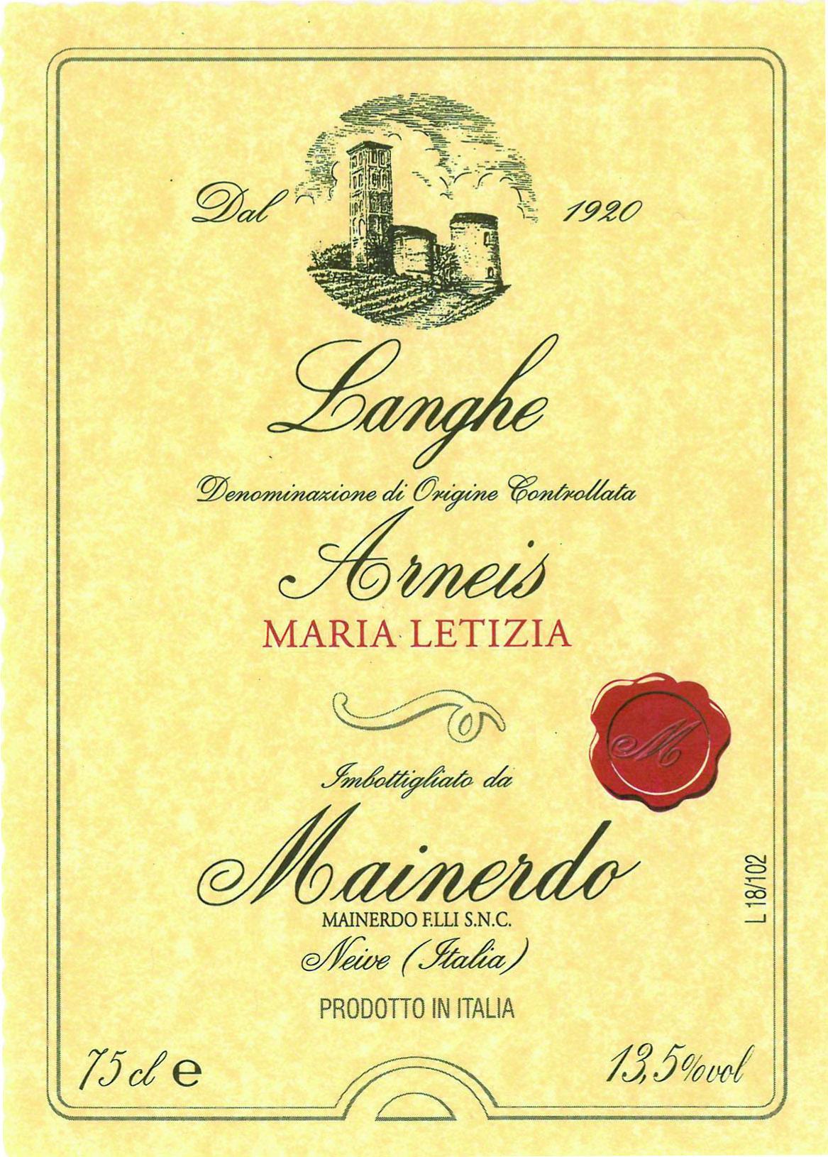 Langhe Arneis Maria Letizia