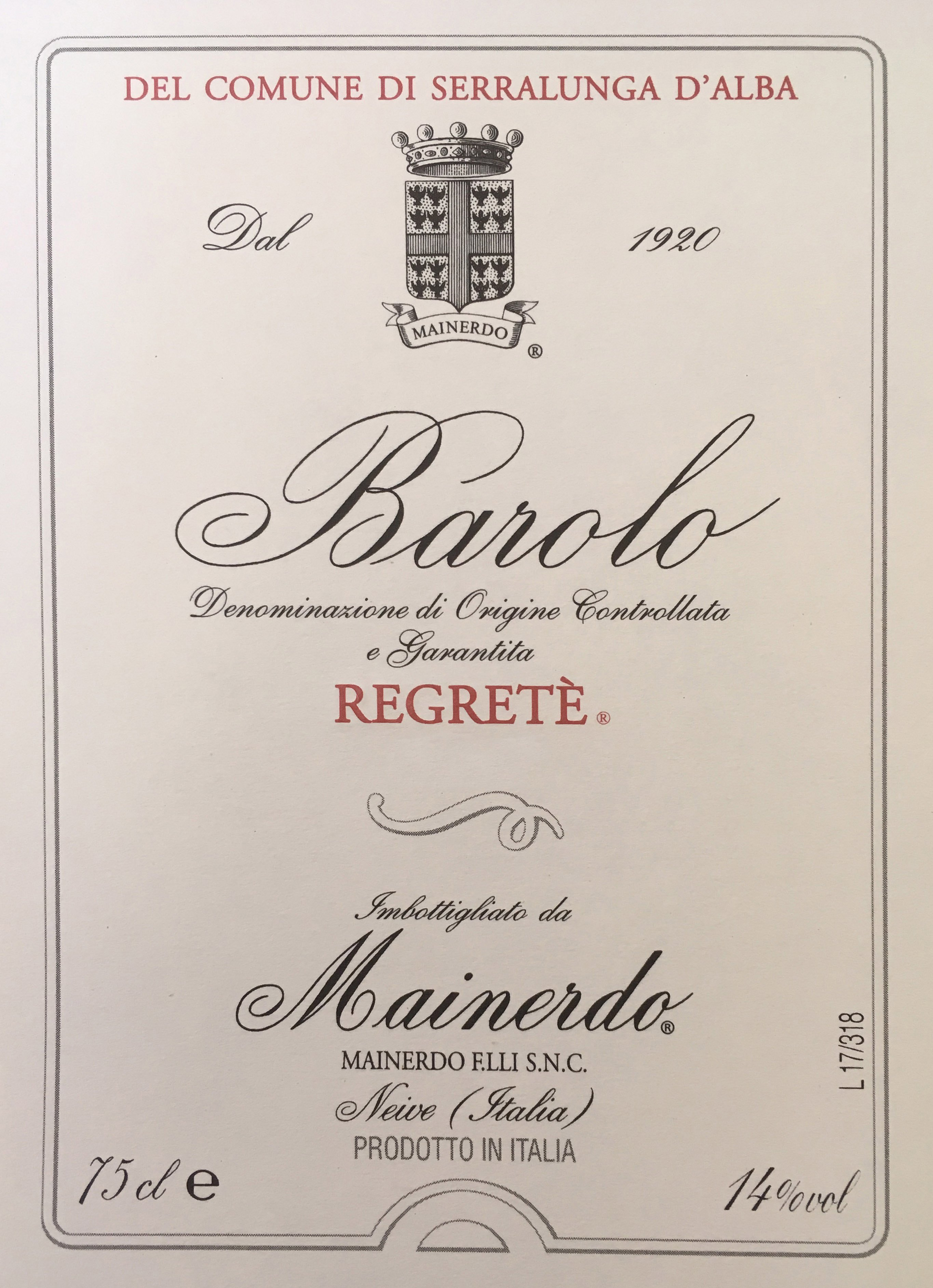 Barolo Regreté